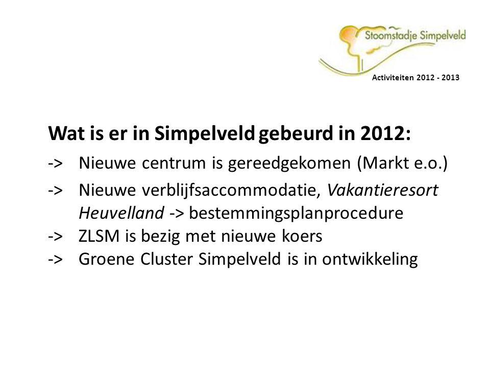 Wat is er in Simpelveld gebeurd in 2012: -> Nieuwe centrum is gereedgekomen (Markt e.o.) -> Nieuwe verblijfsaccommodatie, Vakantieresort Heuvelland ->