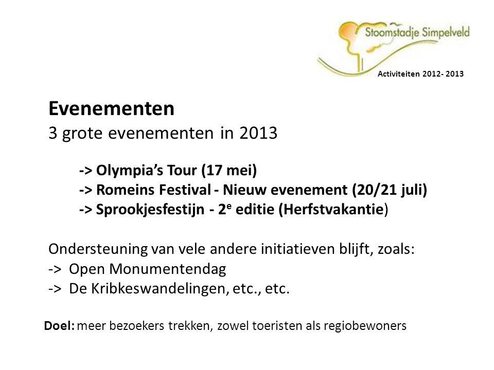 Activiteiten 2012- 2013 Evenementen 3 grote evenementen in 2013 -> Olympia's Tour (17 mei) -> Romeins Festival - Nieuw evenement (20/21 juli) -> Sproo