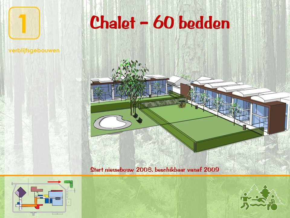 1 verblijfsgebouwen Chalet – 60 bedden Start nieuwbouw 2008, beschikbaar vanaf 2009