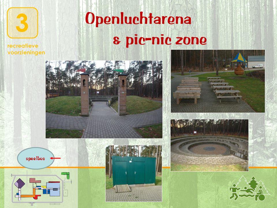 3 recreatieve voorzieningen Openluchtarena & pic-nic zone speelbos