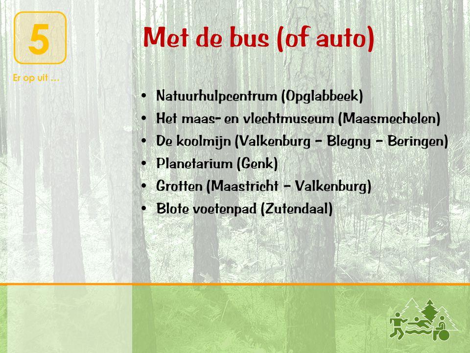 5 Er op uit … Met de bus (of auto) • Natuurhulpcentrum (Opglabbeek) • Het maas- en vlechtmuseum (Maasmechelen) • De koolmijn (Valkenburg – Blegny – Be