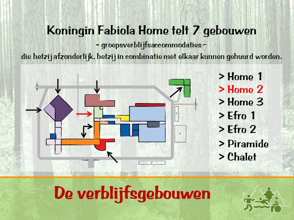 11 De verblijfsgebouwen Koningin Fabiola Home telt 7 gebouwen - groepsverblijfsaccommodaties – die hetzij afzonderlijk, hetzij in combinatie met elkaar kunnen gehuurd worden.