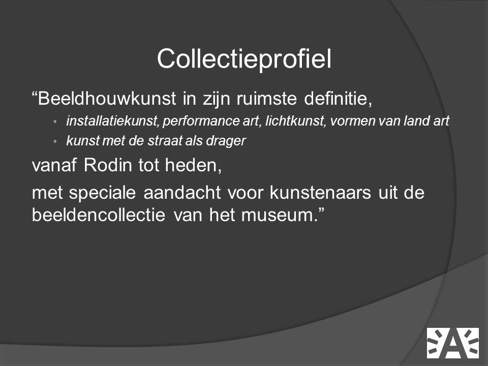 Beeldhouwkunst in zijn ruimste definitie, • installatiekunst, performance art, lichtkunst, vormen van land art • kunst met de straat als drager vanaf Rodin tot heden, met speciale aandacht voor kunstenaars uit de beeldencollectie van het museum. Collectieprofiel