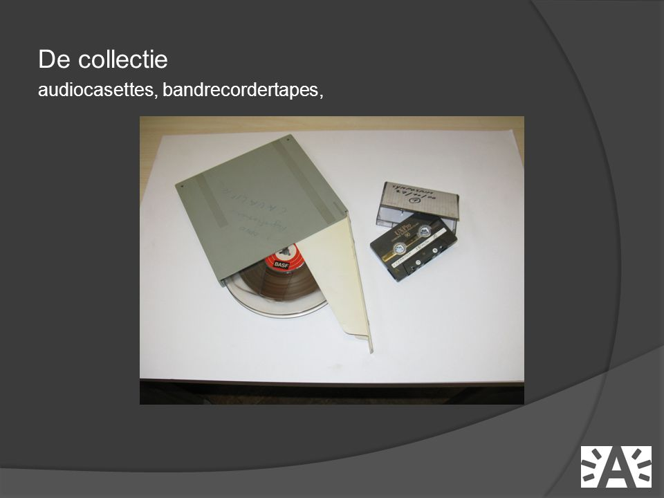 De collectie audiocasettes, bandrecordertapes,