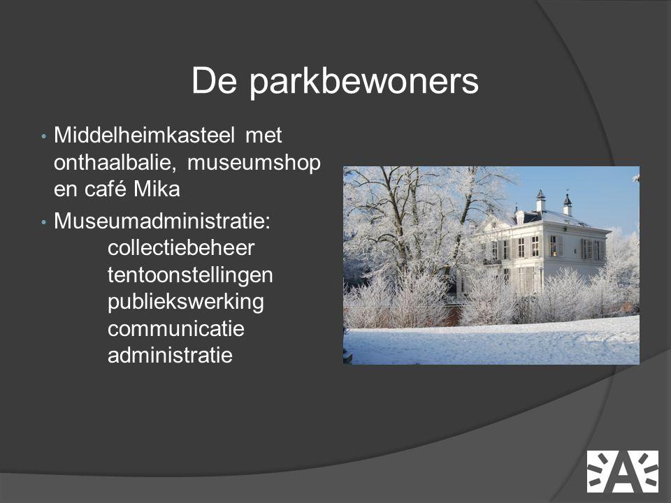 • Middelheimkasteel met onthaalbalie, museumshop en café Mika • Museumadministratie: collectiebeheer tentoonstellingen publiekswerking communicatie administratie De parkbewoners