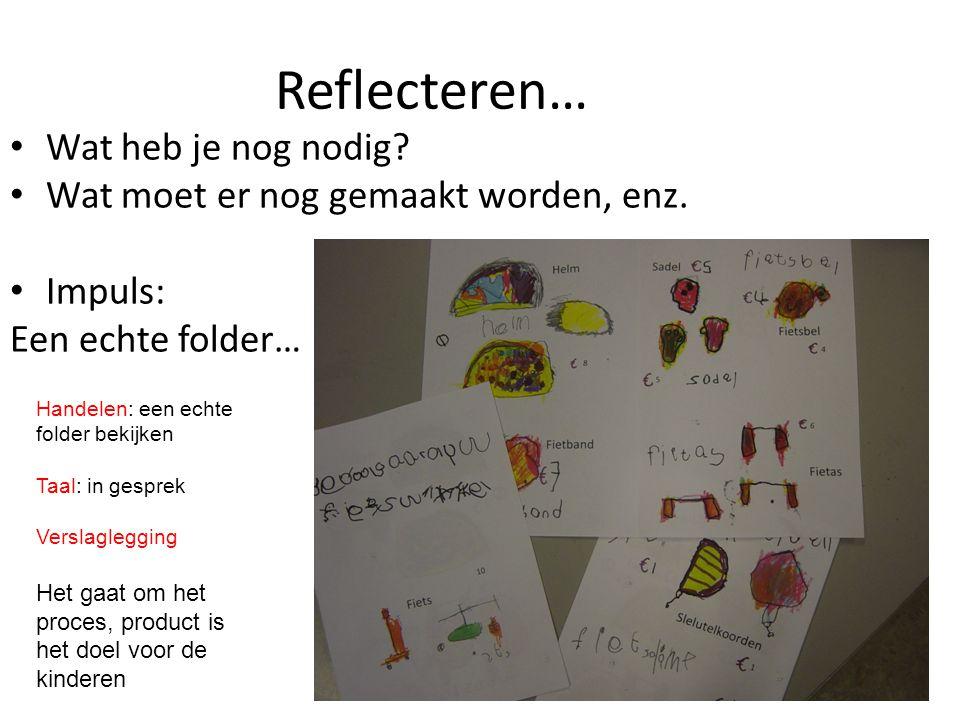 Reflecteren… • Wat heb je nog nodig? • Wat moet er nog gemaakt worden, enz. • Impuls: Een echte folder… Handelen: een echte folder bekijken Taal: in g