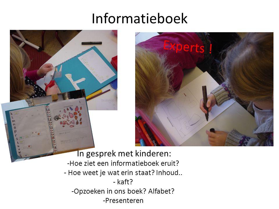 Informatieboek In gesprek met kinderen: -Hoe ziet een informatieboek eruit? - Hoe weet je wat erin staat? Inhoud.. - kaft? -Opzoeken in ons boek? Alfa