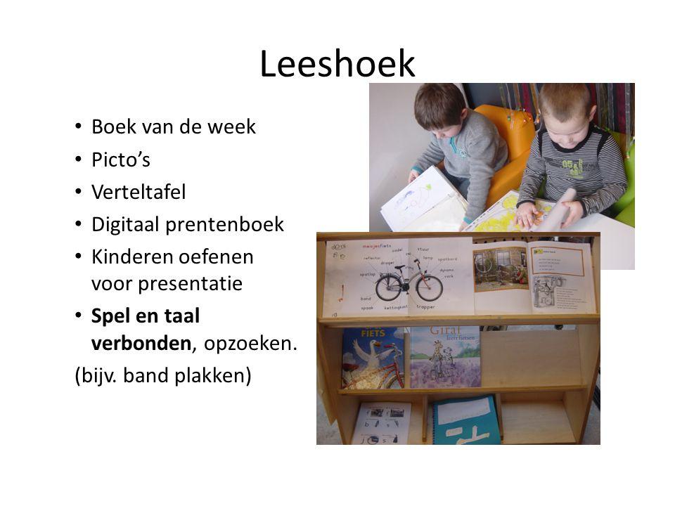 Leeshoek • Boek van de week • Picto's • Verteltafel • Digitaal prentenboek • Kinderen oefenen voor presentatie • Spel en taal verbonden, opzoeken. (bi