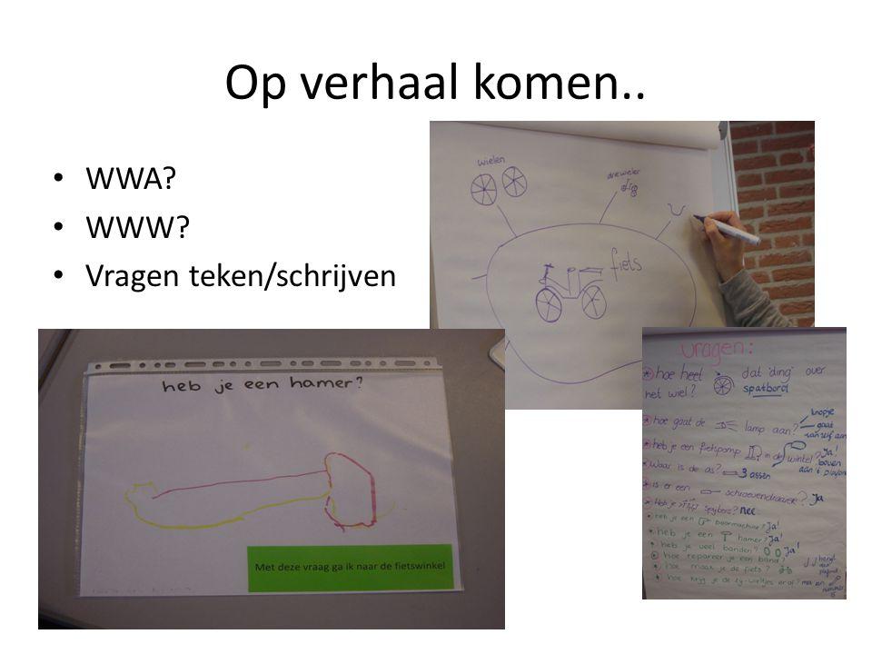 Op verhaal komen.. • WWA? • WWW? • Vragen teken/schrijven