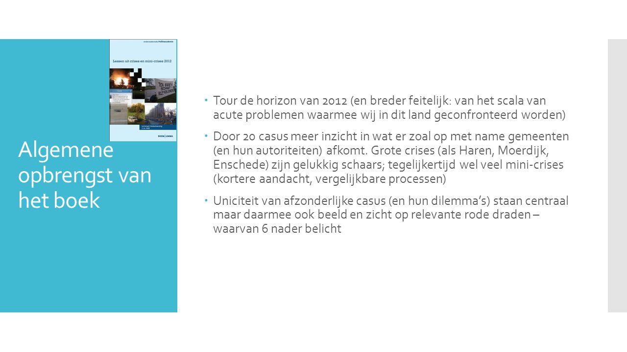 Algemene opbrengst van het boek  Tour de horizon van 2012 (en breder feitelijk: van het scala van acute problemen waarmee wij in dit land geconfronteerd worden)  Door 20 casus meer inzicht in wat er zoal op met name gemeenten (en hun autoriteiten) afkomt.