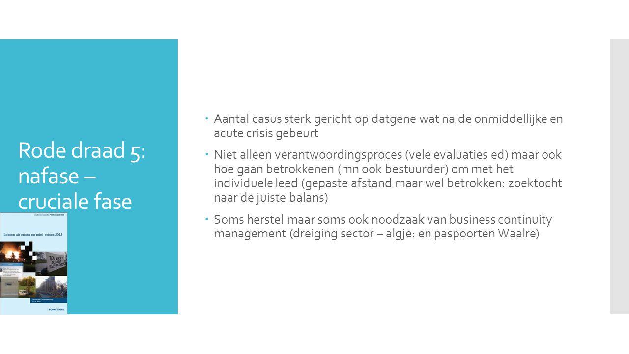 Rode draad 5: nafase – cruciale fase  Aantal casus sterk gericht op datgene wat na de onmiddellijke en acute crisis gebeurt  Niet alleen verantwoordingsproces (vele evaluaties ed) maar ook hoe gaan betrokkenen (mn ook bestuurder) om met het individuele leed (gepaste afstand maar wel betrokken: zoektocht naar de juiste balans)  Soms herstel maar soms ook noodzaak van business continuity management (dreiging sector – algje: en paspoorten Waalre)