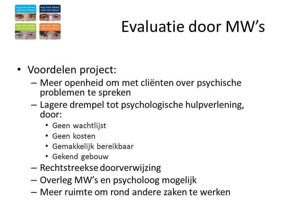 Evaluatie door MW's • Voordelen project: – Meer openheid om met cliënten over psychische problemen te spreken – Lagere drempel tot psychologische hulp