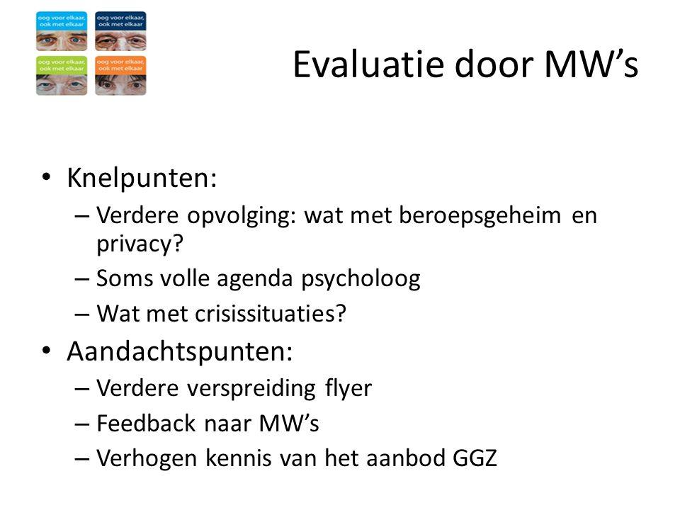 Evaluatie door MW's • Knelpunten: – Verdere opvolging: wat met beroepsgeheim en privacy? – Soms volle agenda psycholoog – Wat met crisissituaties? • A