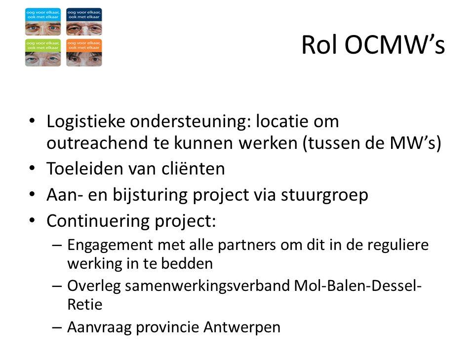 Rol OCMW's • Logistieke ondersteuning: locatie om outreachend te kunnen werken (tussen de MW's) • Toeleiden van cliënten • Aan- en bijsturing project