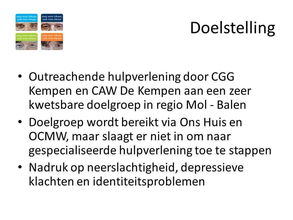 Doelstelling • Outreachende hulpverlening door CGG Kempen en CAW De Kempen aan een zeer kwetsbare doelgroep in regio Mol - Balen • Doelgroep wordt ber