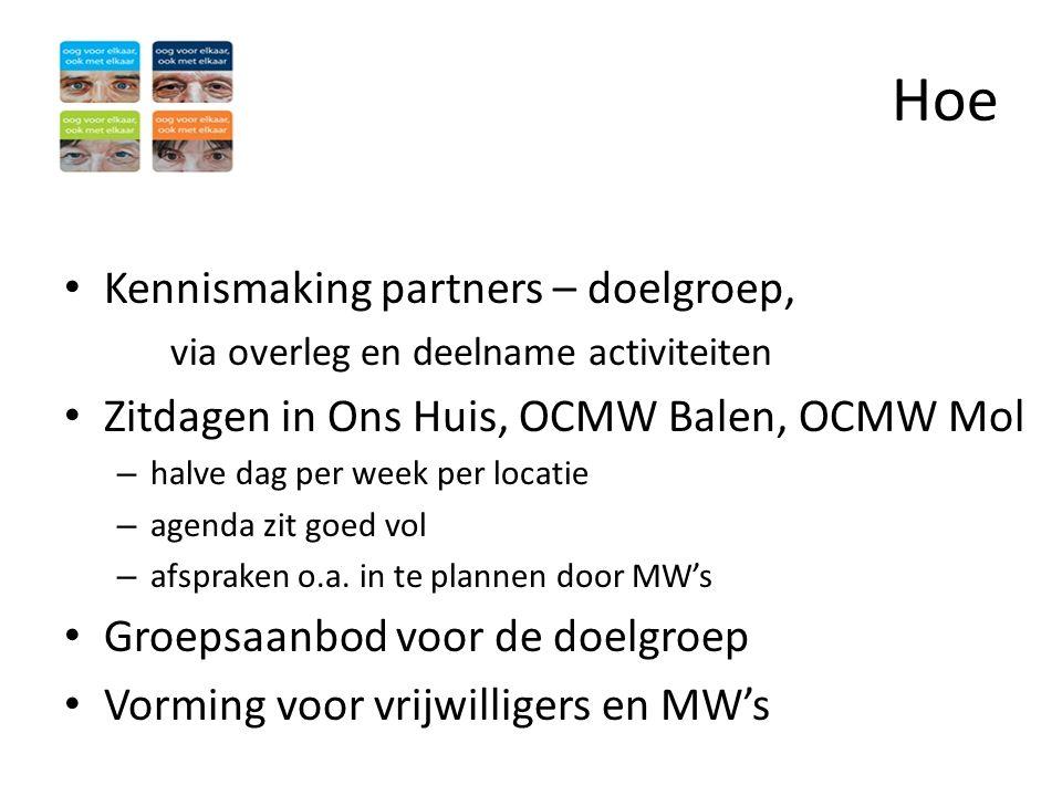 Hoe • Kennismaking partners – doelgroep, via overleg en deelname activiteiten • Zitdagen in Ons Huis, OCMW Balen, OCMW Mol – halve dag per week per lo