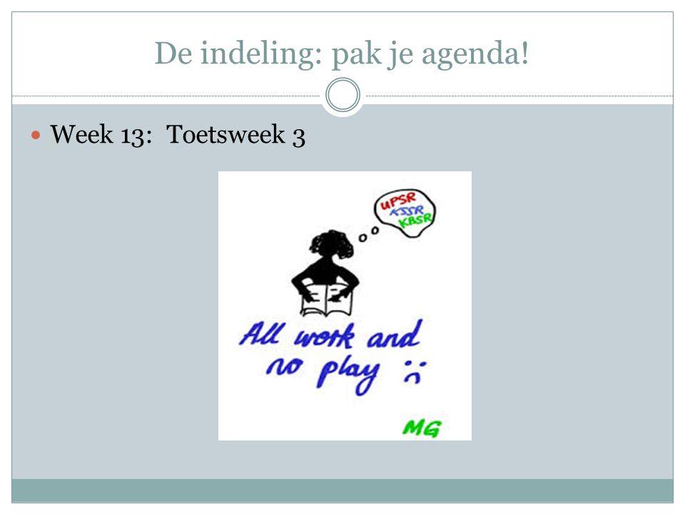 De indeling: pak je agenda!  Week 13: Toetsweek 3