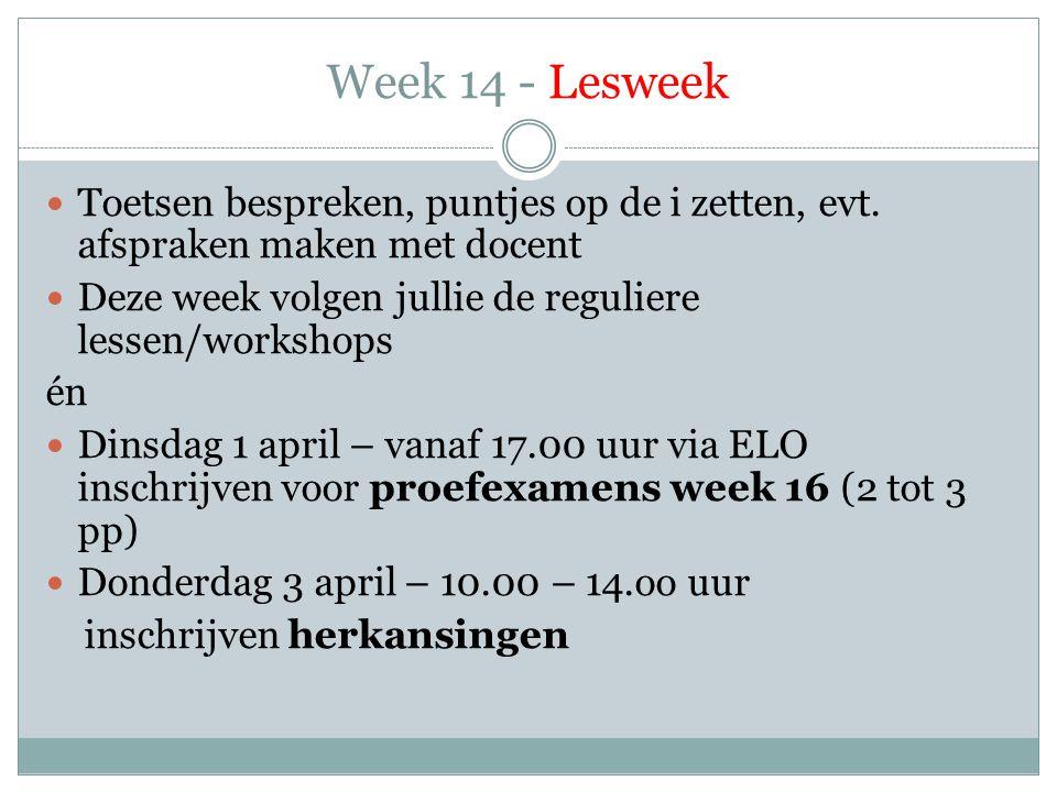 Week 14 - Lesweek  Toetsen bespreken, puntjes op de i zetten, evt. afspraken maken met docent  Deze week volgen jullie de reguliere lessen/workshops
