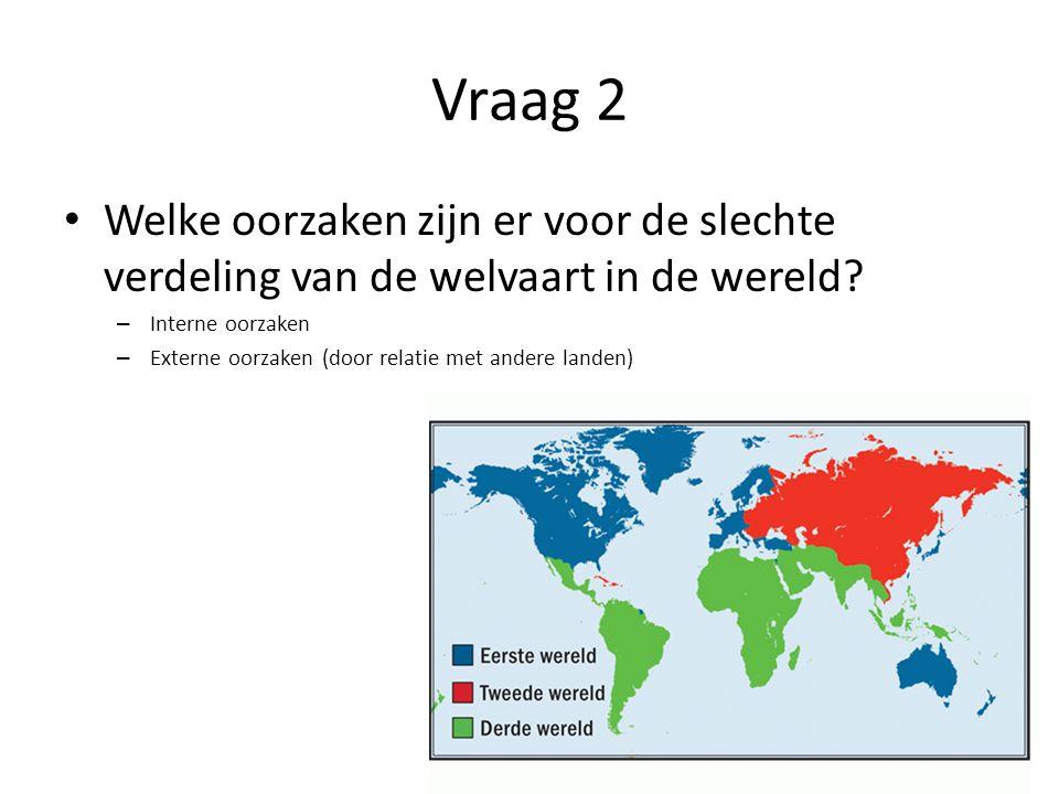 Vraag 2 • Welke oorzaken zijn er voor de slechte verdeling van de welvaart in de wereld? – Interne oorzaken – Externe oorzaken (door relatie met ander