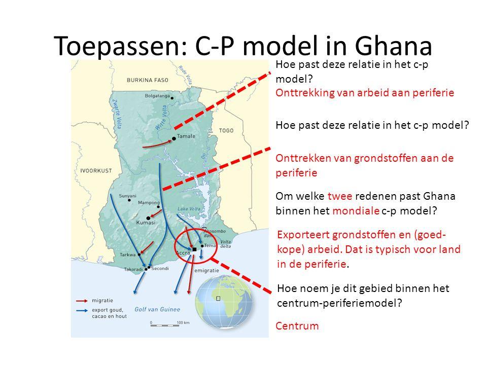 Toepassen: C-P model in Ghana Onttrekken van grondstoffen aan de periferie Onttrekking van arbeid aan periferie Hoe noem je dit gebied binnen het cent