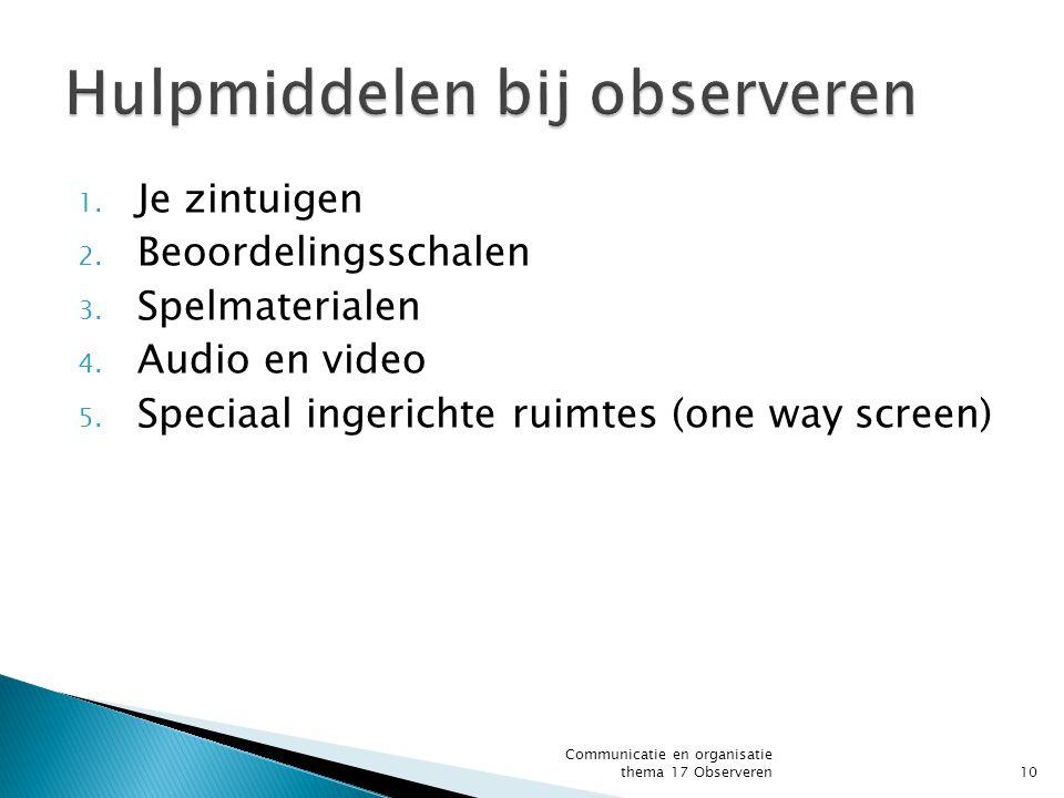 1. Je zintuigen 2. Beoordelingsschalen 3. Spelmaterialen 4. Audio en video 5. Speciaal ingerichte ruimtes (one way screen) Communicatie en organisatie