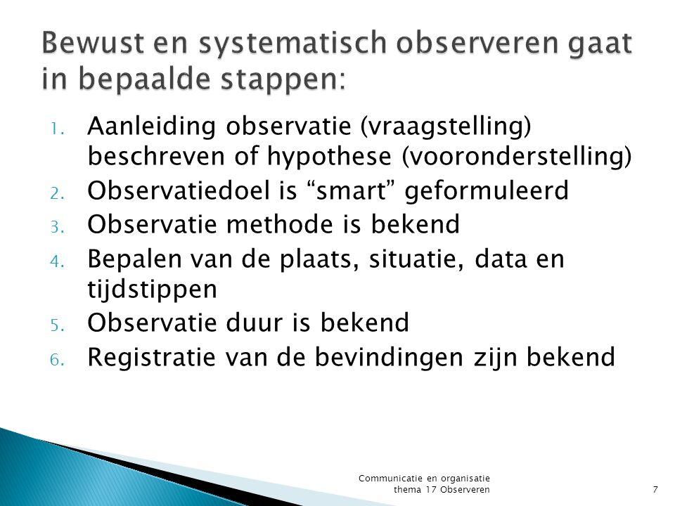 """1. Aanleiding observatie (vraagstelling) beschreven of hypothese (vooronderstelling) 2. Observatiedoel is """"smart"""" geformuleerd 3. Observatie methode i"""