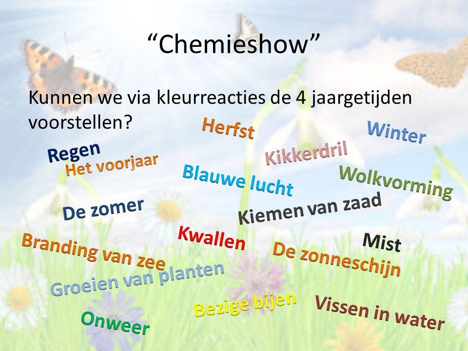 """""""Chemieshow"""" Kunnen we via kleurreacties de 4 jaargetijden voorstellen?"""