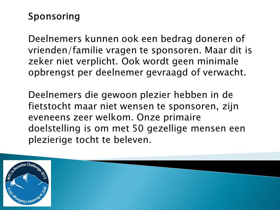 Sponsoring Deelnemers kunnen ook een bedrag doneren of vrienden/familie vragen te sponsoren. Maar dit is zeker niet verplicht. Ook wordt geen minimale