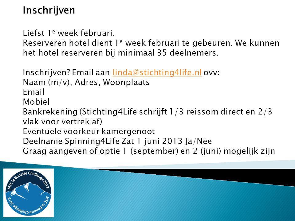 Inschrijven Liefst 1 e week februari. Reserveren hotel dient 1 e week februari te gebeuren.