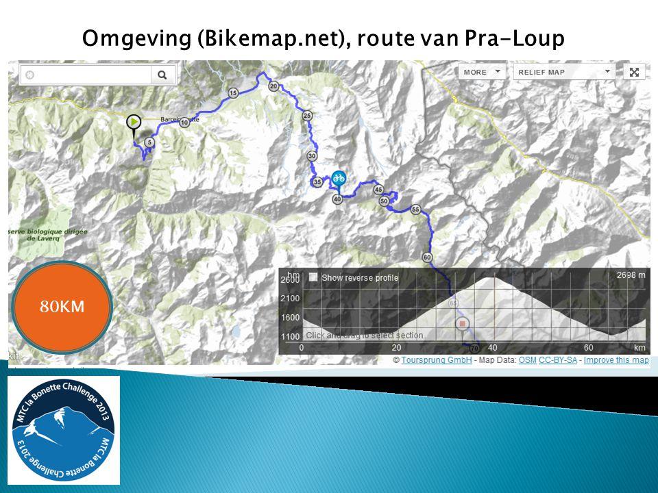 Omgeving (Bikemap.net), route van Pra-Loup 80KM