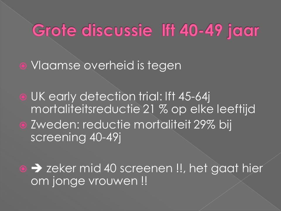 Vlaamse overheid is tegen  UK early detection trial: lft 45-64j mortaliteitsreductie 21 % op elke leeftijd  Zweden: reductie mortaliteit 29% bij s