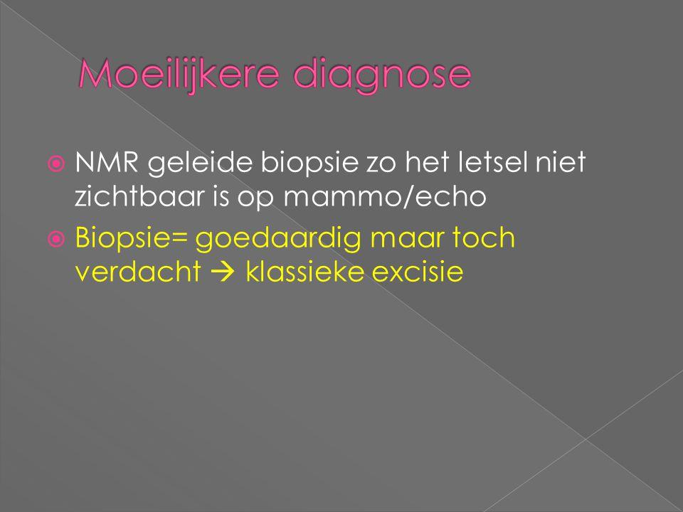  NMR geleide biopsie zo het letsel niet zichtbaar is op mammo/echo  Biopsie= goedaardig maar toch verdacht  klassieke excisie
