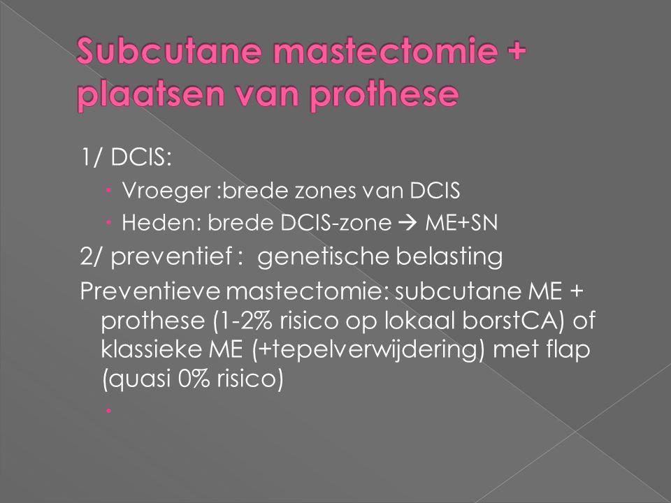 1/ DCIS:  Vroeger :brede zones van DCIS  Heden: brede DCIS-zone  ME+SN 2/ preventief : genetische belasting Preventieve mastectomie: subcutane ME +