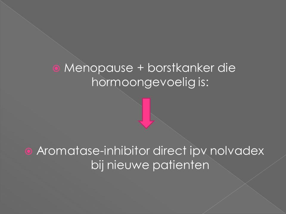  Menopause + borstkanker die hormoongevoelig is:  Aromatase-inhibitor direct ipv nolvadex bij nieuwe patienten
