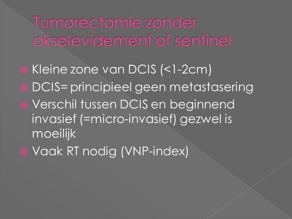 Kleine zone van DCIS (<1-2cm)  DCIS= principieel geen metastasering  Verschil tussen DCIS en beginnend invasief (=micro-invasief) gezwel is moeili
