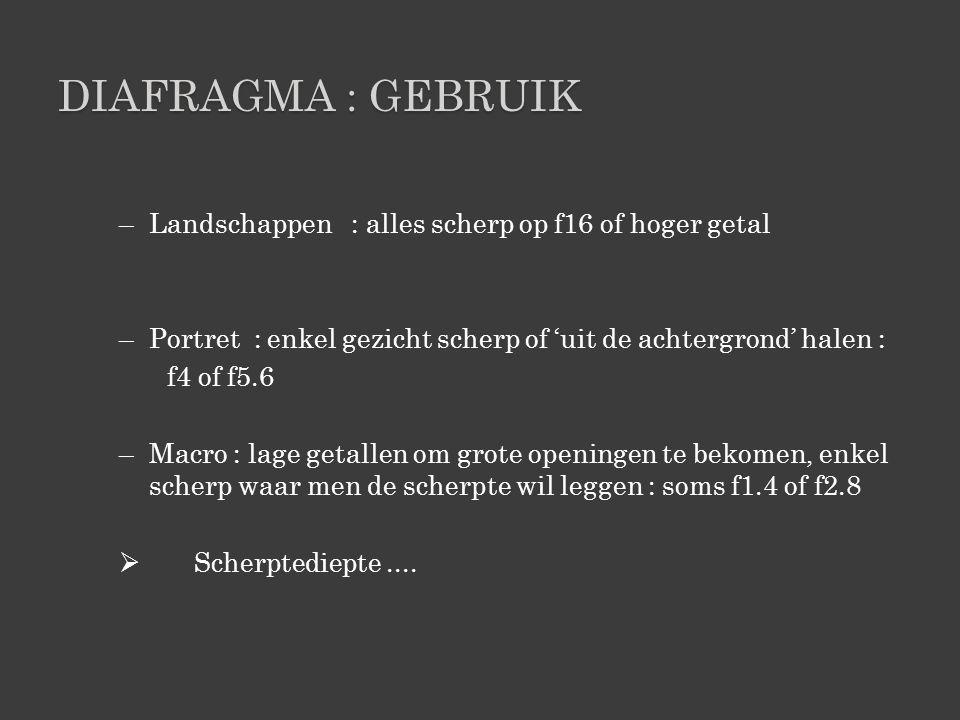 DIAFRAGMA : GEBRUIK –Landschappen : alles scherp op f16 of hoger getal –Portret : enkel gezicht scherp of 'uit de achtergrond' halen : f4 of f5.6 –Macro : lage getallen om grote openingen te bekomen, enkel scherp waar men de scherpte wil leggen : soms f1.4 of f2.8  Scherptediepte....