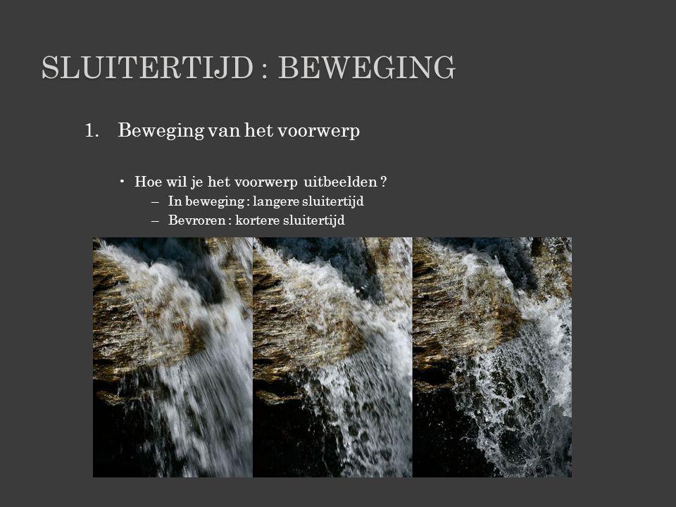 SLUITERTIJD : BEWEGING 1.Beweging van het voorwerp •Hoe wil je het voorwerp uitbeelden .
