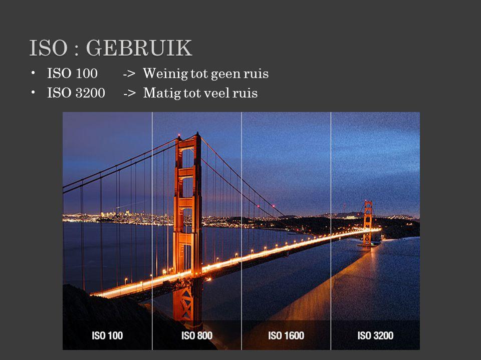 ISO : GEBRUIK •ISO 100 -> Weinig tot geen ruis •ISO 3200 -> Matig tot veel ruis