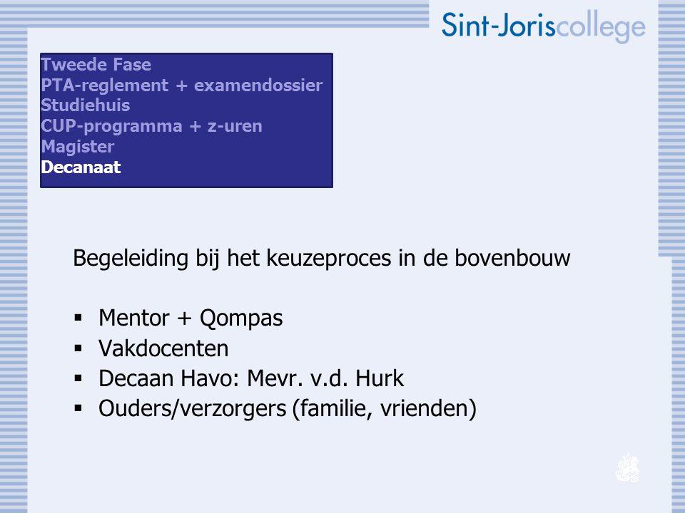 Begeleiding bij het keuzeproces in de bovenbouw  Mentor + Qompas  Vakdocenten  Decaan Havo: Mevr. v.d. Hurk  Ouders/verzorgers (familie, vrienden)
