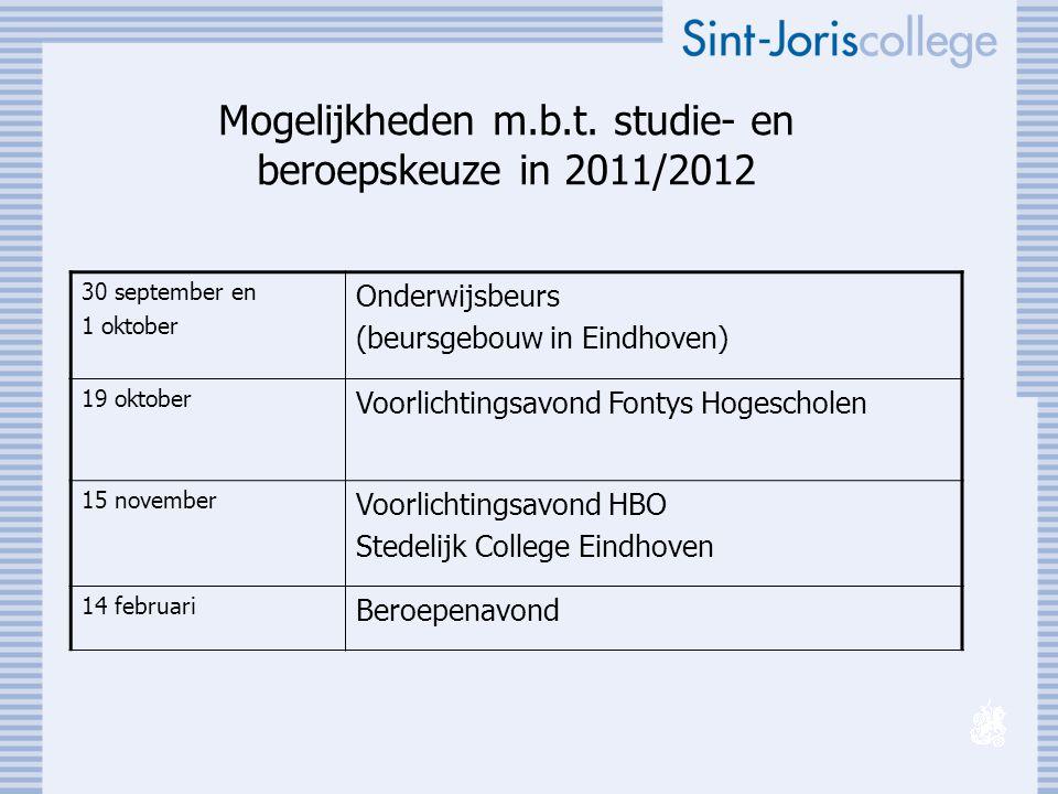 Mogelijkheden m.b.t. studie- en beroepskeuze in 2011/2012 30 september en 1 oktober Onderwijsbeurs (beursgebouw in Eindhoven) 19 oktober Voorlichtings