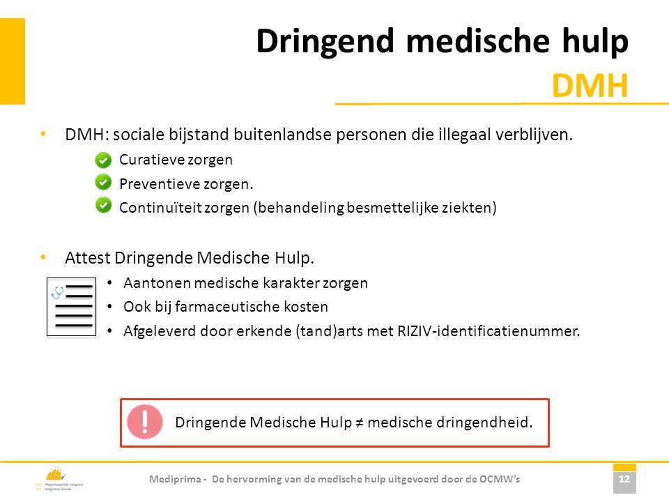 Dringend medische hulp DMH • DMH: sociale bijstand buitenlandse personen die illegaal verblijven. Curatieve zorgen Preventieve zorgen. Continuïteit zo