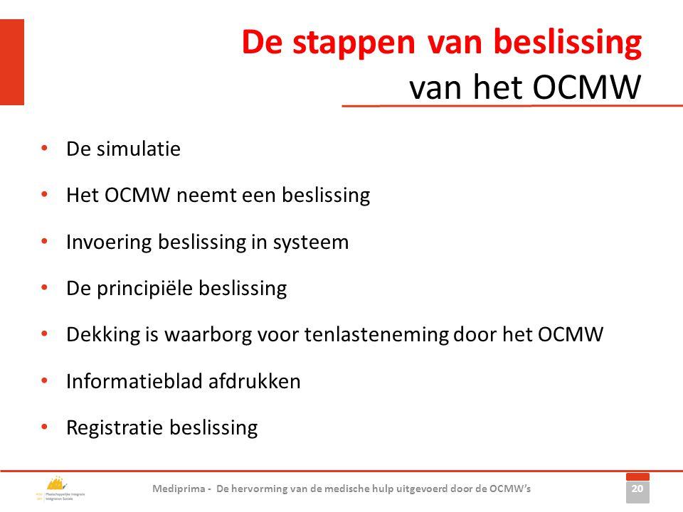 De stappen van beslissing van het OCMW • De simulatie • Het OCMW neemt een beslissing • Invoering beslissing in systeem • De principiële beslissing •