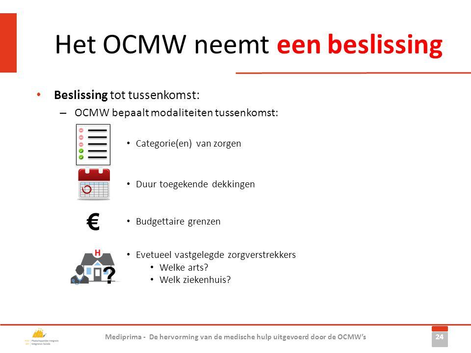 Het OCMW neemt een beslissing 24 Mediprima - De hervorming van de medische hulp uitgevoerd door de OCMW's • Beslissing tot tussenkomst: – OCMW bepaalt