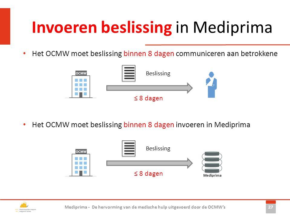 Invoeren beslissing in Mediprima 27 Mediprima - De hervorming van de medische hulp uitgevoerd door de OCMW's • Het OCMW moet beslissing binnen 8 dagen