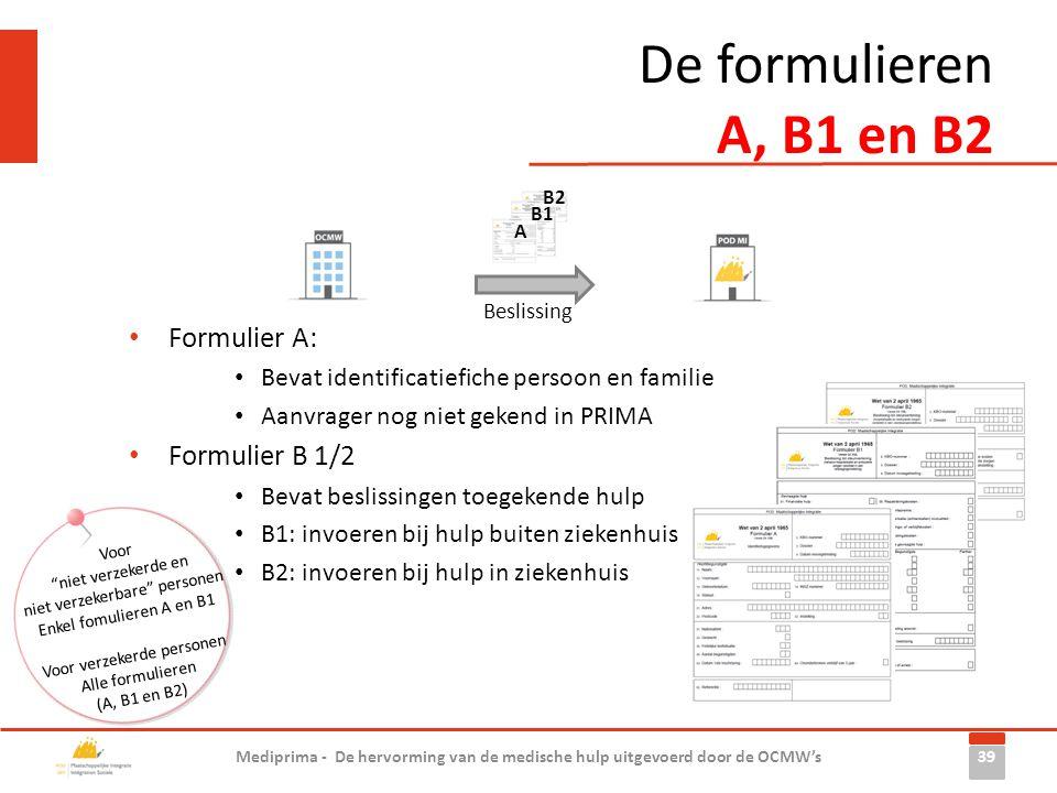 • Formulier A: • Bevat identificatiefiche persoon en familie • Aanvrager nog niet gekend in PRIMA • Formulier B 1/2 • Bevat beslissingen toegekende hu