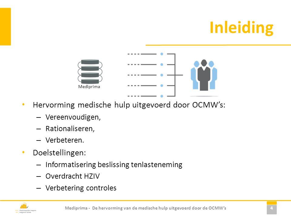 Inleiding • Hervorming medische hulp uitgevoerd door OCMW's: – Vereenvoudigen, – Rationaliseren, – Verbeteren. • Doelstellingen: – Informatisering bes
