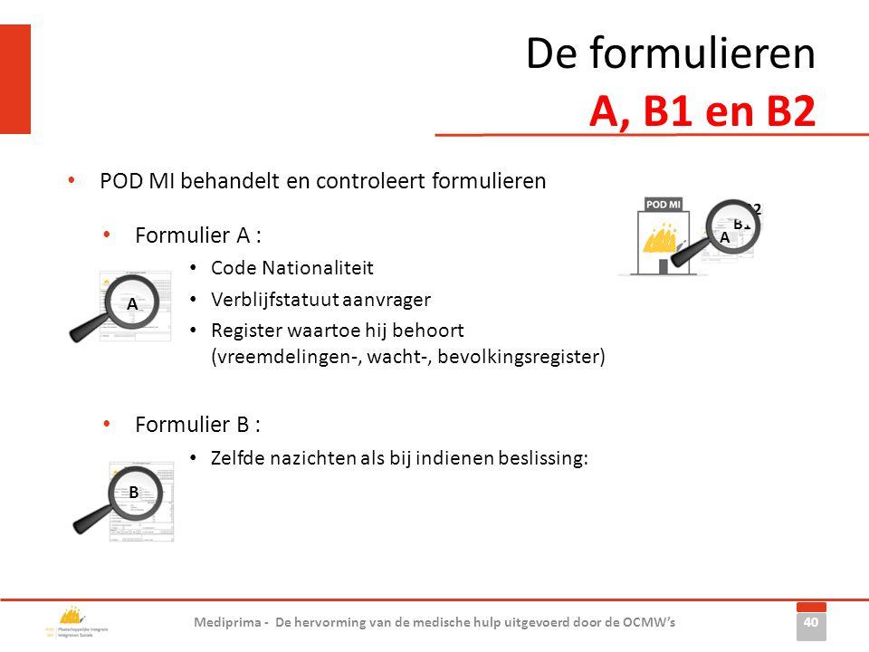 De formulieren A, B1 en B2 40 Mediprima - De hervorming van de medische hulp uitgevoerd door de OCMW's A B1 B2 • POD MI behandelt en controleert formu