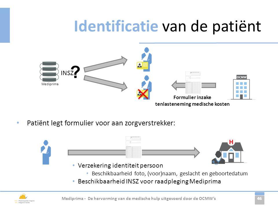 46 Identificatie van de patiënt Mediprima - De hervorming van de medische hulp uitgevoerd door de OCMW's Mediprima INSZ ? Formulier inzake tenlastenem
