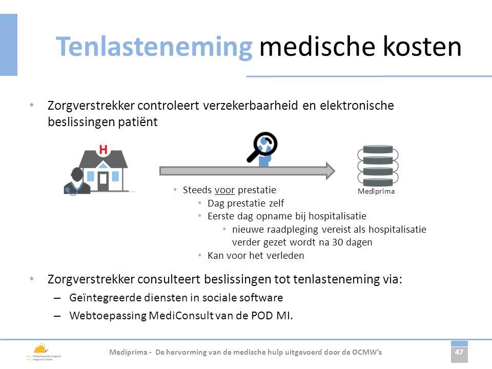 47 Tenlasteneming medische kosten • Zorgverstrekker controleert verzekerbaarheid en elektronische beslissingen patiënt • Zorgverstrekker consulteert b