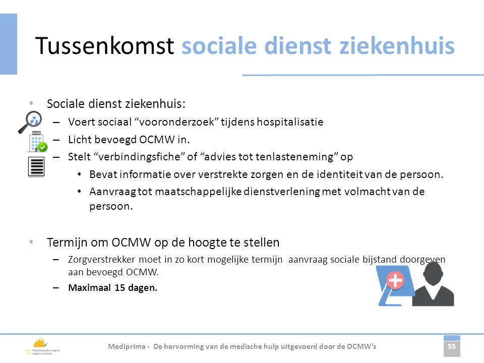 """55 • Sociale dienst ziekenhuis: – Voert sociaal """"vooronderzoek"""" tijdens hospitalisatie – Licht bevoegd OCMW in. – Stelt """"verbindingsfiche"""" of """"advies"""